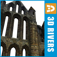 wall gothic building 3d model