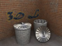 alley corner bins polys 3d model