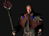 rigged black battle mage 3d max
