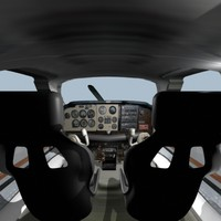 Beechcraft Bonanza Cockpit Interior Low poly textured for effect