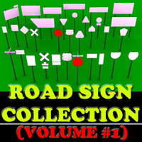 Road Sign Collection-Vol. #1 (33 Road Signs) Low-Poly