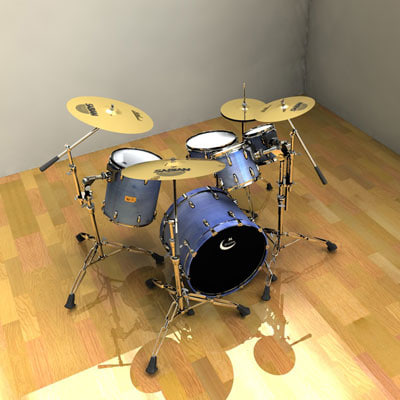 adjustable drum set 3d model - Adjustable Drum Set... by 3dmaster12345
