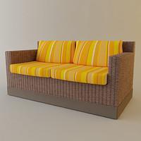 3d model rattan sofa