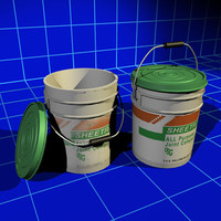 drywall mud buckets 01 3d model