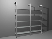3d model metal glass shelves