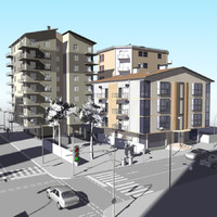 3d urban block model