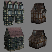 3d tudor medieval fantasy low-poly buildings model