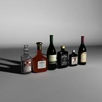 3d set bottles model