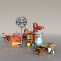 3d yard cartoon props model