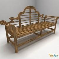 3d model wood bench exterior