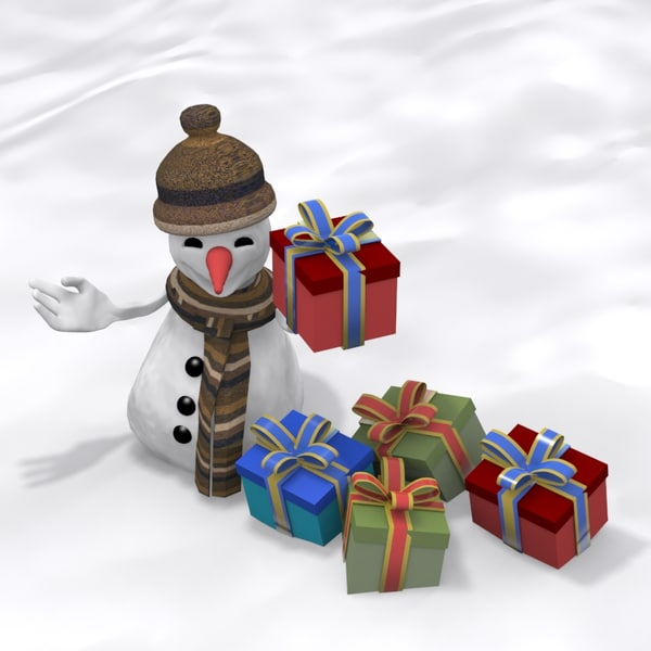 snowman with gift package
