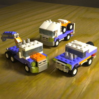 free lego mini vehicles 3d model