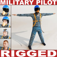 3dsmax military pilot rigged biped