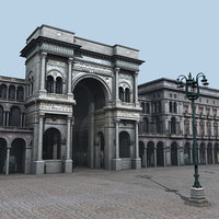 buildings piazza duomo milan c4d