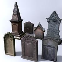 3d stone grave gravestone model