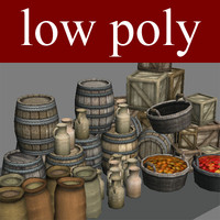 Low poly medieval background objects