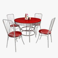 3d diner table chairs model