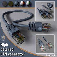 ethernet cat5 connector cable 3d max