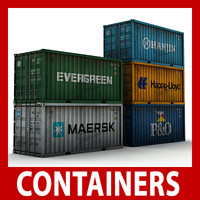 cargo containers pack 3d model