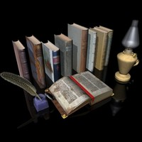 3d model open book old
