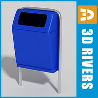 street trash cans 3d model