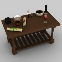 3d witch table equiped