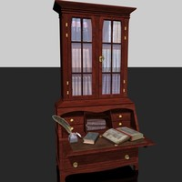 old secretary with books