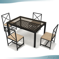 Wrot Iron Glass Top Table