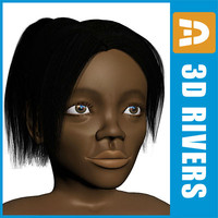 3d black girl body child model