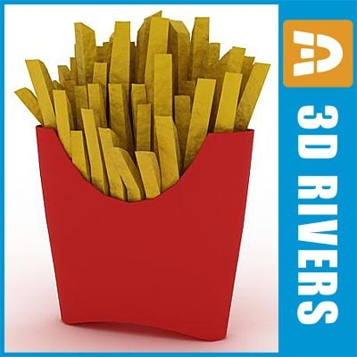 3d model of fries package food - Fries by 3DRivers... by 3DRivers