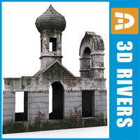 3d model of ruined orthodox church building