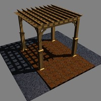 3d pergola brick mulch