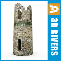 ruined tower structures 3d 3ds