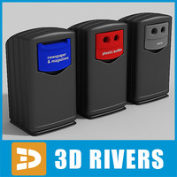 trash cans container 3d model