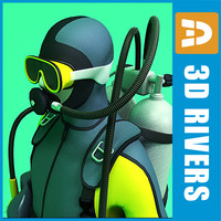 scuba diver 3d model
