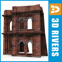 ruined brick building wall 3d model