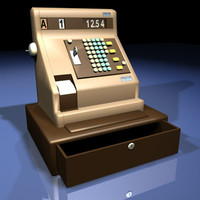 cash register retro 01 3d model