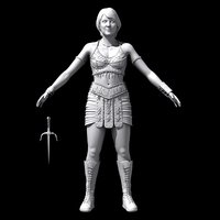 princess warrior gabrielle 3d model