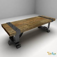 Wood bench with a forging