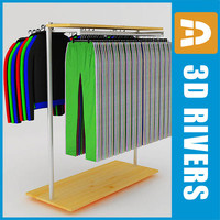 retail clothing rack sweatsuits 3d max