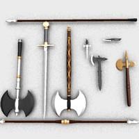3d axes sword zipped model