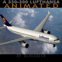 airbus a330-300 plane lufthansa 3d model