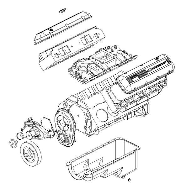 chevrolet big block v8 engine 3d dxf