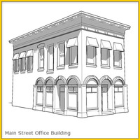 corner office building whitebox 3d model