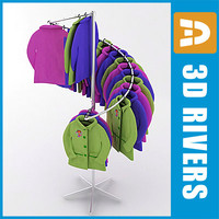 retail clothing rack kids 3d model