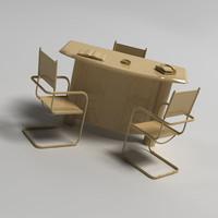 3dsmax chair table set