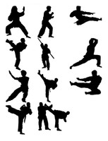 Martial art figure silhouettes