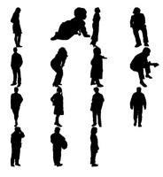 people silhouettes 3d 3ds