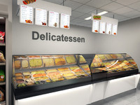 Supermarket Deli Counter with signange