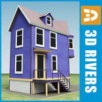 small town house building 3d 3ds